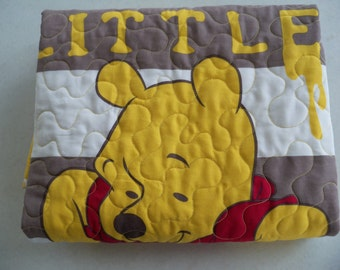 Modern Baby Quilt Classic Pooh Taking Time for Hunny Handmade Toddler Baby Quilt Bedding