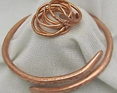 Copper Bangle Bracelets + Free copper Ring. Textured Copper Bracelet. Chakras Cuff. Arthritis Bracelet.Copper wristlet.