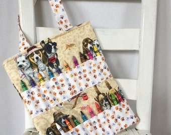 Dogs Crayon Bag Children Coloring Tote Child Crafting Toddler Boy Birthday Gift Pawprints