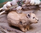 """Two Sided Bear Necklace White Ivory Handmade One-of-a-Kind Artifact Antique Glass Trade Beads Long Necklace Adjustable 26""""-29"""""""