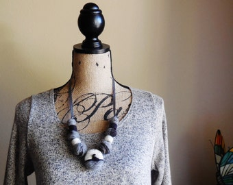 Fashion Statement...Secret Shores ... Necklace ... Hand Felted Beads ... Two in One ...