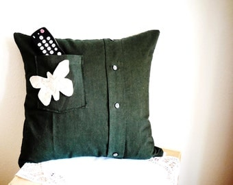 Pillow...Decorative Throw Pillow...Olive Green...Cotton...Hand Made