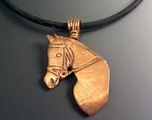 Horse Head Profile Pendant Bronze Gold Necklace OOAK Unique Unisex Men Women