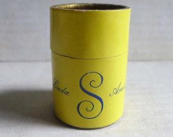 Vintage Linda Arnie Round Box Matches, Yellow Gold Retro Fancy Matches
