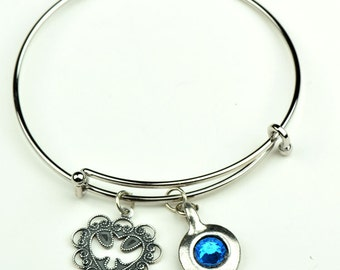 Charm Bracelet with dove charm and Birthstone setting, each