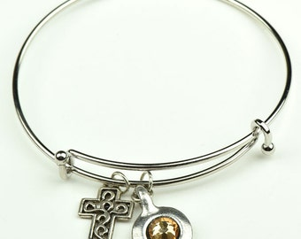 Charm Bracelet  cross charm and Birthstone setting, each