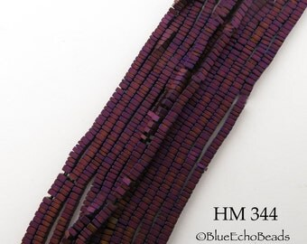 2mm Tiny Matte Magenta Hematite Small Square Heishi Beads 2mm x 1mm (HM 344) Full Strand BlueEchoBeads