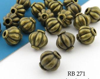 8mm Antique Brass / Bronze Melon Beads (RB 271)  14 pcs BlueEchoBeads