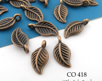14mm Small Antique Copper Leaf Charm (CO 418) 20 pcs BlueEchoBeads