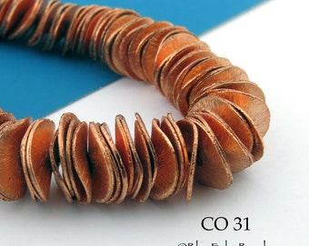 10mm Potato Chip Beads Copper Potato Chip Wavy Disk Bead  Full Strand (CO 31) 75 pcs BlueEchoBeads