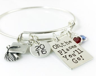 Oh, the Places You'll Go -- Graduation Simply Charming Bangle Bracelet - sterling silver