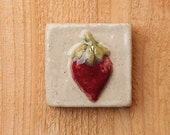 Handmade 2x2 ceramic strawberry tile comes with a hanger on the back or ready for a tile installation