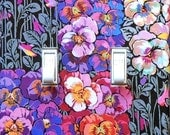 5 CHOICES- Art Nouveau Pansy Switchplates w/ MATCHING SCREWS- Art Nouveau wall decorations Art Nouveau switch covers pansies pansy wallpaper