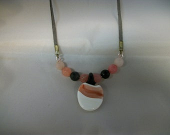 sale Coral pink and white glass jewelry