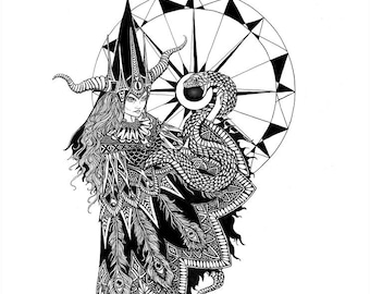 The Enchantress 8.5 x 11 black and white archival giclee print witch and snake