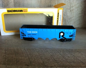 Bachmann The Rock Electric Train Car , Ho Scale Blue Open Hopper Car , Vintage Train Electric Train Car