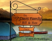 State Outline Camping Sign with 2 dogbones - Custom Carved Cedar RV Sign - Includes Round Garden Holder