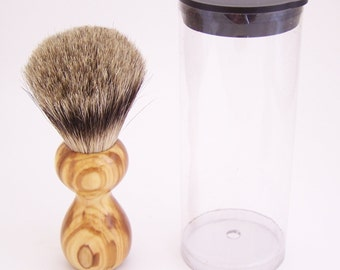 Olivewood 16mm Silvertip Badger Travel Brush  (Handmade in USA) O1 -  Executive Gift - 5th Anniversary - Wood Shaving Brush - Gift for Him
