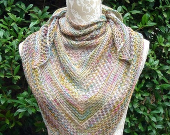Hand Knit Triangular Lace Shawl Rich Pastels