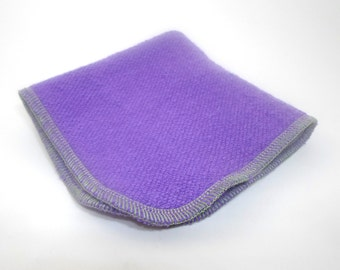 Purple Washcloth 9 x 9 inches made with Hemp and Organic Cotton French Terry - Lavender  by Aquarian Bath - Go green - ecofriendly