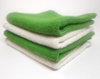 Green Washcloth set of 4 - 9 x 9 inches made with Hemp and Organic Cotton French Terry by Aquarian Bath - Christmas Gift