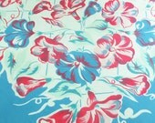 1940s Morning Glory Floral Tablecloth, Cornflower Blue Lattice and Border, Pretty Flowers in Dark Pink, Light Pink, Jadeite Green and Blue