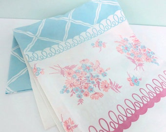 Vintage Pastel Floral Tablecloth with a Lattice Pattern, Curly-Q's and Flowers in Pink and Light Blue