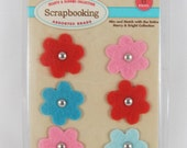 Felt Scrapbooking Brads - Hearts and Blooms Collection #AA237