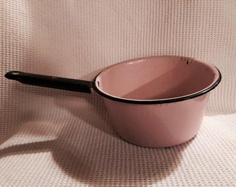 Pink shabby chic enamelware sauce pan