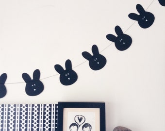 Bunny Garland, Rabbit Garland, Monochrome Garland, Paper Decoration, Party Decoration, Nursery Decor, Kids Room, Childs Decor, Party Garland