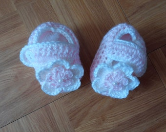 Crochet Baby Girl Handmade, Booties, Mary Janes, infant, kids, 10002 MADE TO ORDER