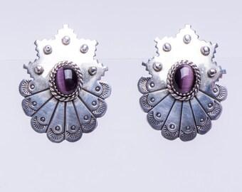 Navajo Purple Tigers Eye Earrings - Sterling Posts Signed - Native American Earrings