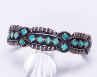 Zuni Carved Turquoise Sterling Bracelet - 40s Petitpoint Cuff