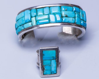 Turquoise Raised Cobblestone Bracelet & Ring - Navajo Signed