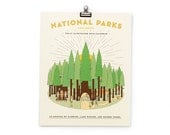 SALE - National Parks Illustrated Calendar Print 2016 8x10