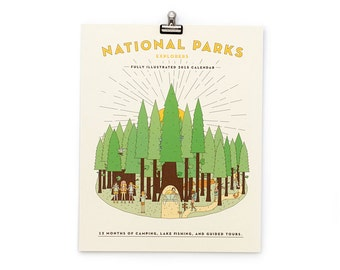 SALE - National Parks Illustrated Calendar Print 2016 8x10