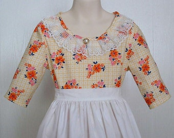 Historical  Colonial Tea Day Dress Civil War Dress Costume Size 7 Ready to Ship Little House on The Prairie Laura Ingals Reenactment Costume