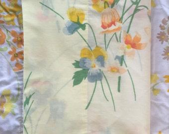 Yellow pansy vintage pillowcase, pastel floral vintage pillowcase