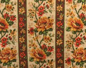 Vintage Tablecloth, Floral Tablecloth, Rectangle Tablecloth, Autumn Tablecloth, Retro Tablecloth, Yellow Flower Tablecloth, Brown Tablecloth