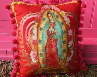 Virgen de Guadalupe VIRGIN MARY PILLOW Red with Pink Trim