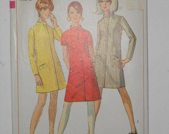 Vintage 60s A Line Dress with Buttoned Stand Up Collar Sewing Pattern Simplicity 7201 Size 12 Bust 32 UNCUT