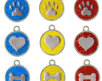 Glitter Enamel Stainless Steel Dog ID Tags