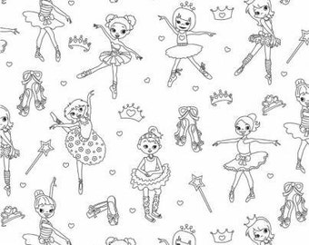 Color Me Tippy Toes - Michael Miller - woven cotton sewing quilting coloring fabric by the yard