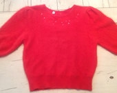 Vintage Red Angora Sweater Embroidered Rhinestones Soft Fluffy Fuzzy 38 Bust