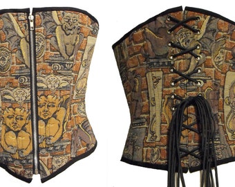Gothic Gargoyle Steampunk woven tapestry steel boned over bust corset Size Medium