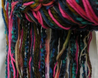 Knit scarf: women's long chunky hand knit multicolor fashion, purple pink blue teal green brown fuchsia warm winter wool silk crochet i570