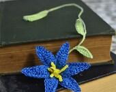 Handmade Bookmark Crochet Bookmark Crochet Blue Lily Flower Fiber Bookmark Cotton Bookmark Handmade Flower