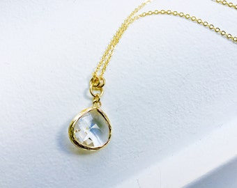 Crystal Crear - Tear Drop - Crystal Glass Gold Long Necklace