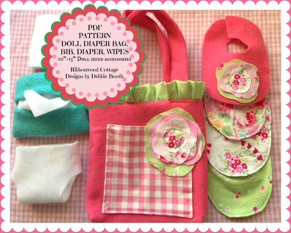"""Sewing Pattern PDF Pattern-Easy Felt Babydoll Shabby Diaper Bag, Diapers, Bibs, Wipes Container and Wipes-10"""" doll size"""