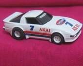 Vintage TYCO Slot Car 440 Mazda Magnum Akai Amsoil 7 Red White Blue Vintage Toy Race Car